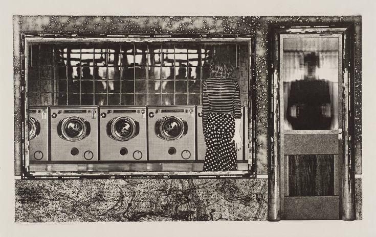 Tim Mara 'The Launderette', 1978   etching © The estate of Tim Mara