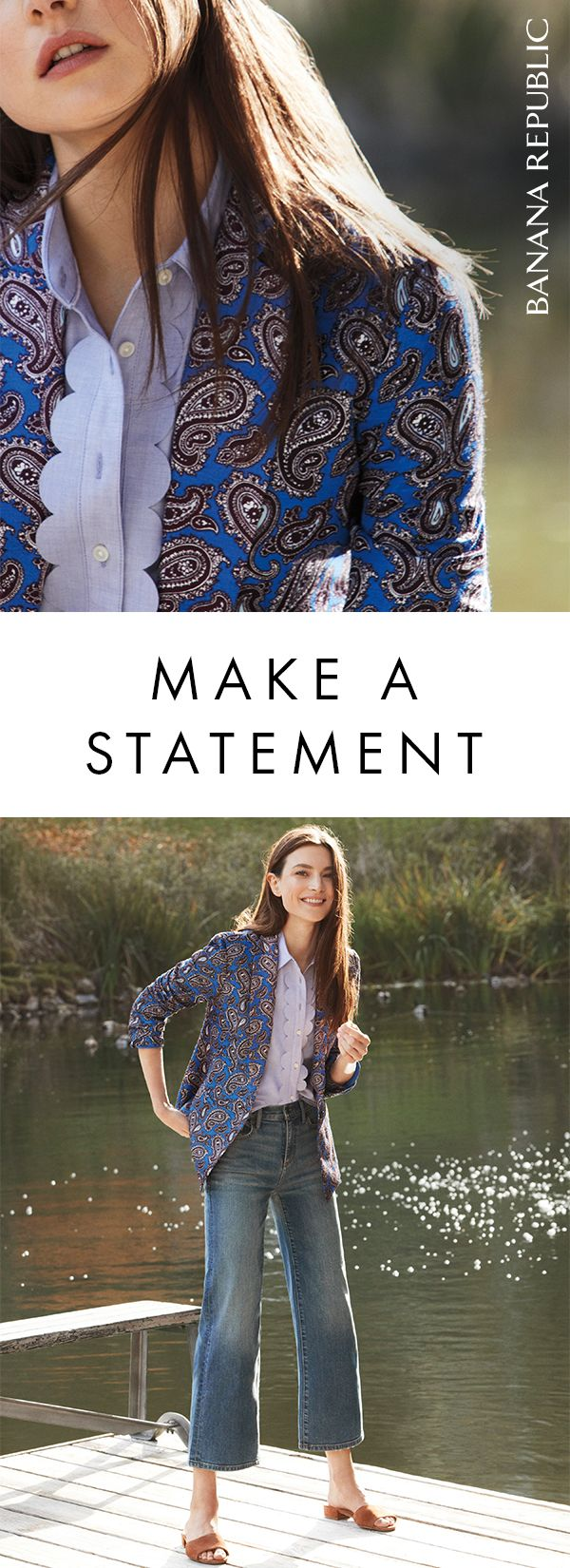 The classic one-button blazer in a luxurious linen blend and a statement paisley print. It's an outfit maker that's great to throw on over a simple outfit to add a serious statement. Shop Banana Republic.
