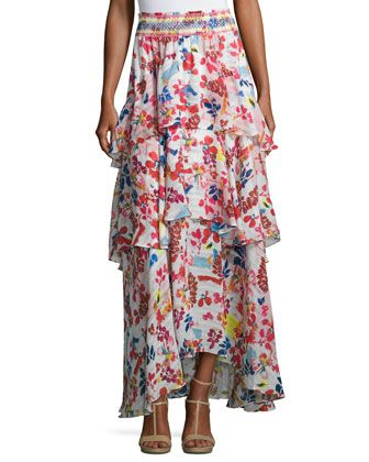 Mariana+Floral+Burst+Maxi+Skirt,+White/Multicolor+by+Tanya+Taylor+Designs+at+Neiman+Marcus.