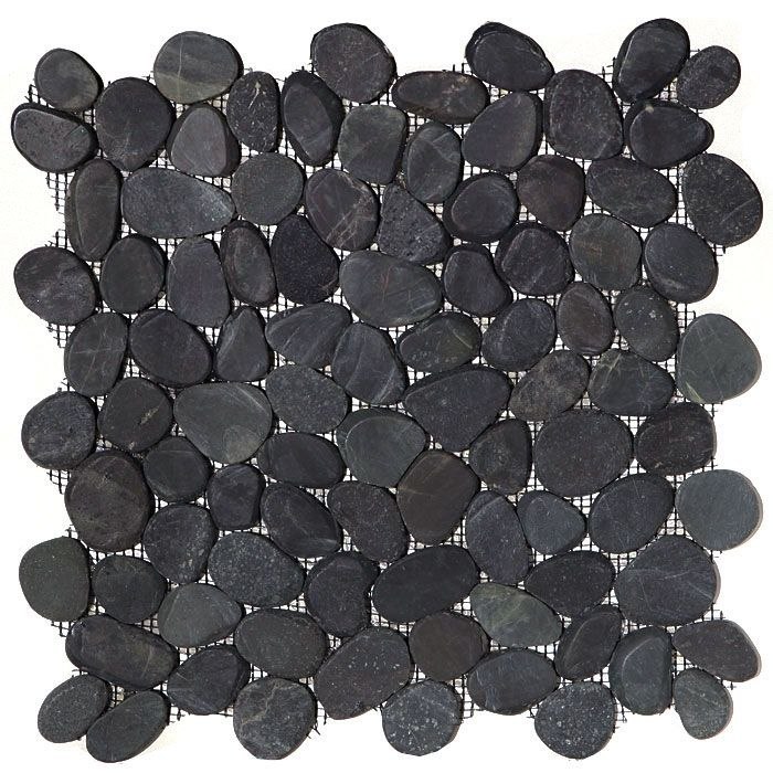 Sliced Flat Cut Pebble Stone Mosaic - have to ask Eric what matches the Crossville Basalt best - master bath shower floor