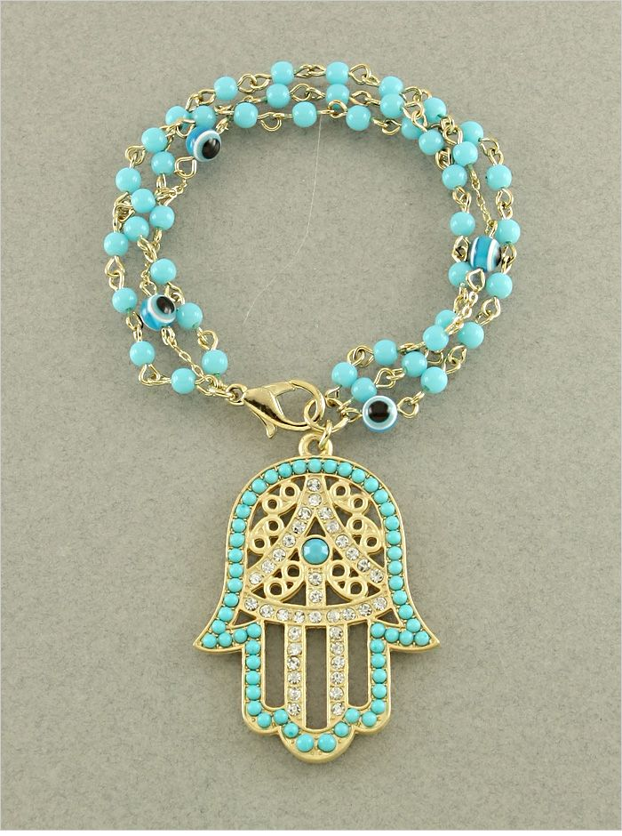 P.S. I Love You More Boutique | Turquoise Hamsa & Evil Eye Crystal Bead Bracelet