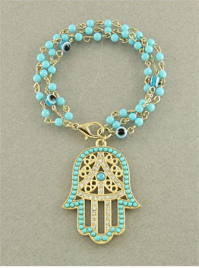 P.S. I Love You More Boutique   Turquoise Hamsa & Evil Eye Crystal Bead Bracelet