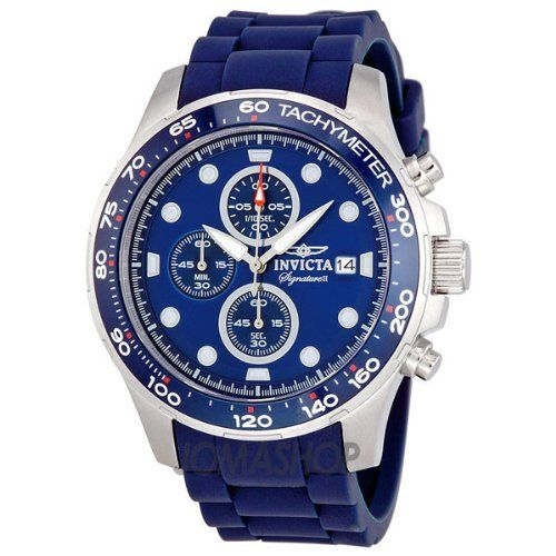 Invicta Signature II Chronograph Blue Dial Blue Rubber Strap Mens Watch 7372 Invicta. $101.00. luminous. second-hand. Water Resistant up to 100 m