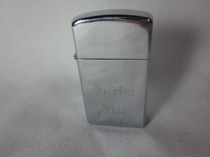 Zippo Slim Lighter 1978 Chrome Vintage Engraved helpful ship 2517191 Insert #Zippo