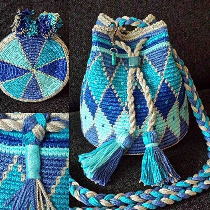 MINI Mochila aqua/ruit patroon