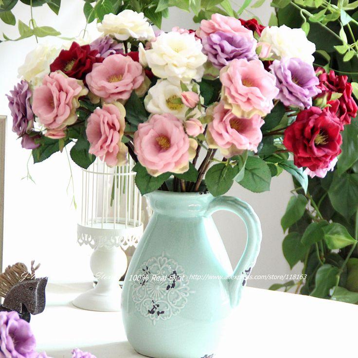 6pcs/lot European 3 Heads Artificial Silk Rose Luxury Home Decorative Flowers Wedding Decoration Bridal Bouquets Party Decor