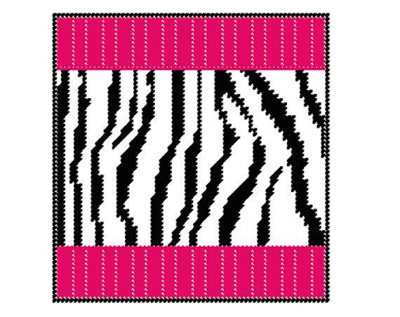Plastic Canvas Zebra Stripes Decorative Pillow PDF FORMAT
