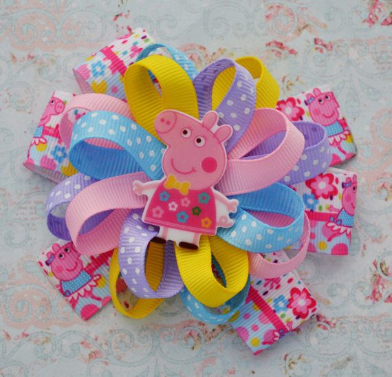 Peppa pig birthday gifts for her Peppa pig hair bows Peppa bow