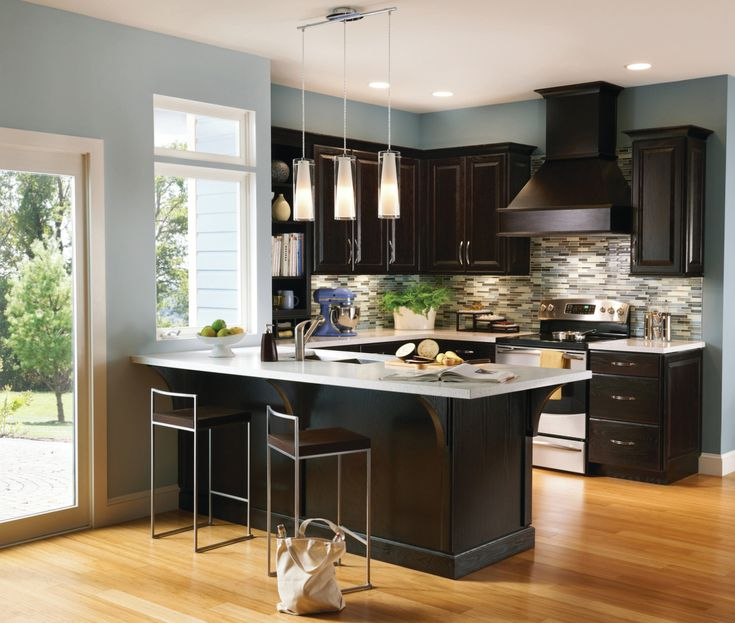 A Contrasting Kitchen Pairs Espresso Cabinetry... | Design Meet Style