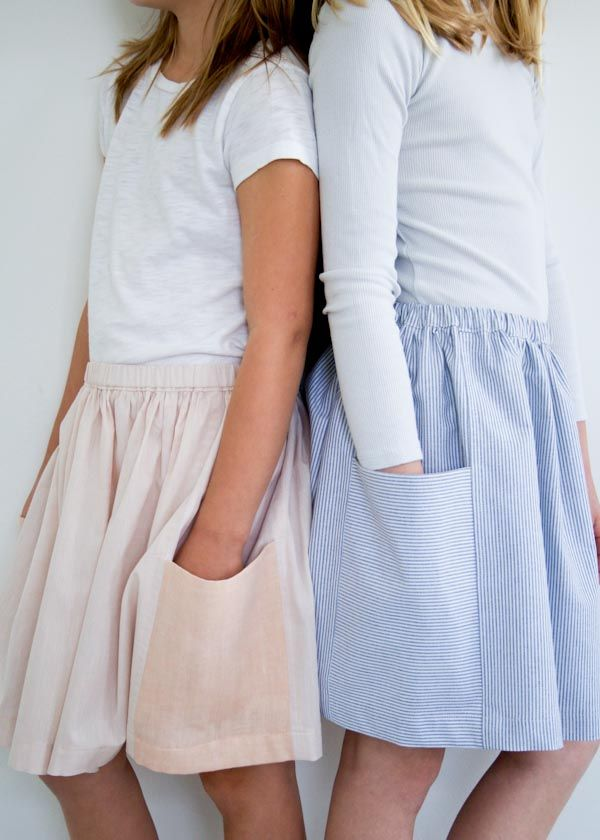 free purl soho gathered skirt for all ages - note two tone pockets for using up fabric scraps.