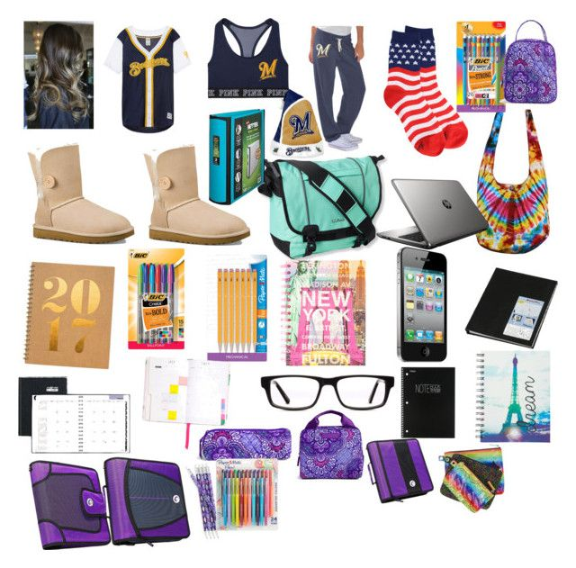 """The last day at High school before The holidays"" by goofy124 ❤ liked on Polyvore featuring G34HER by Carl Banks, UGG Australia, L.L.Bean, Sugar Paper, HP, DayMinder, ban.do, BIC, claire's and Mead"