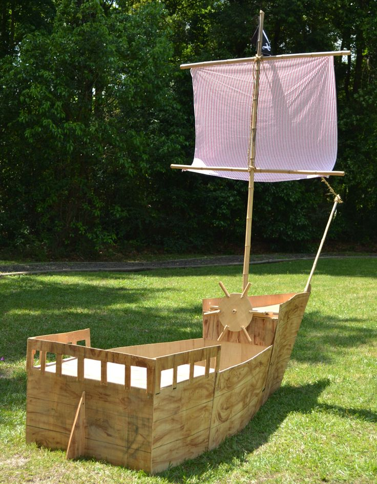 A Pirate Party is not complete without a Pirate Ship! My husband built this one for my boys' pirate party.