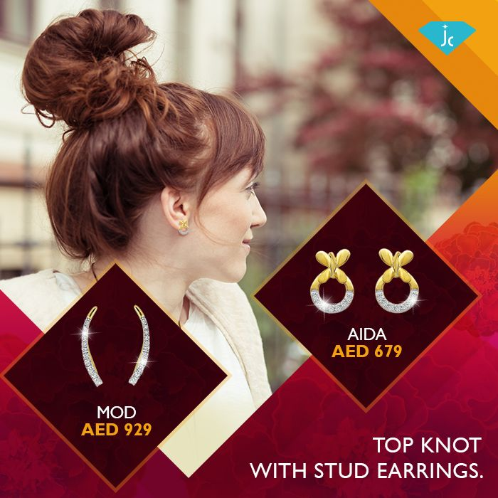 Whether it's a casual office meeting or a day at the mall, try this simple top knot hairstyle with a fashionable pair of studs or earcuffs. Shop now at our website or visit your nearest store today.#Earrings #jewellery #StyleTips #hairdo #diamonds