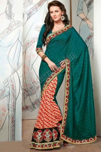 Acheter Designer Saris en ligne Pas de concevoir: 6429 tissu: Viscose Checks Dyed  Prix: 64,90 € http://www.andaazfashion.fr/womens/sarees/green-and-maroon-viscose-saree-dm6429.html