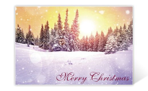 Classic Christmas card with snowy landscape