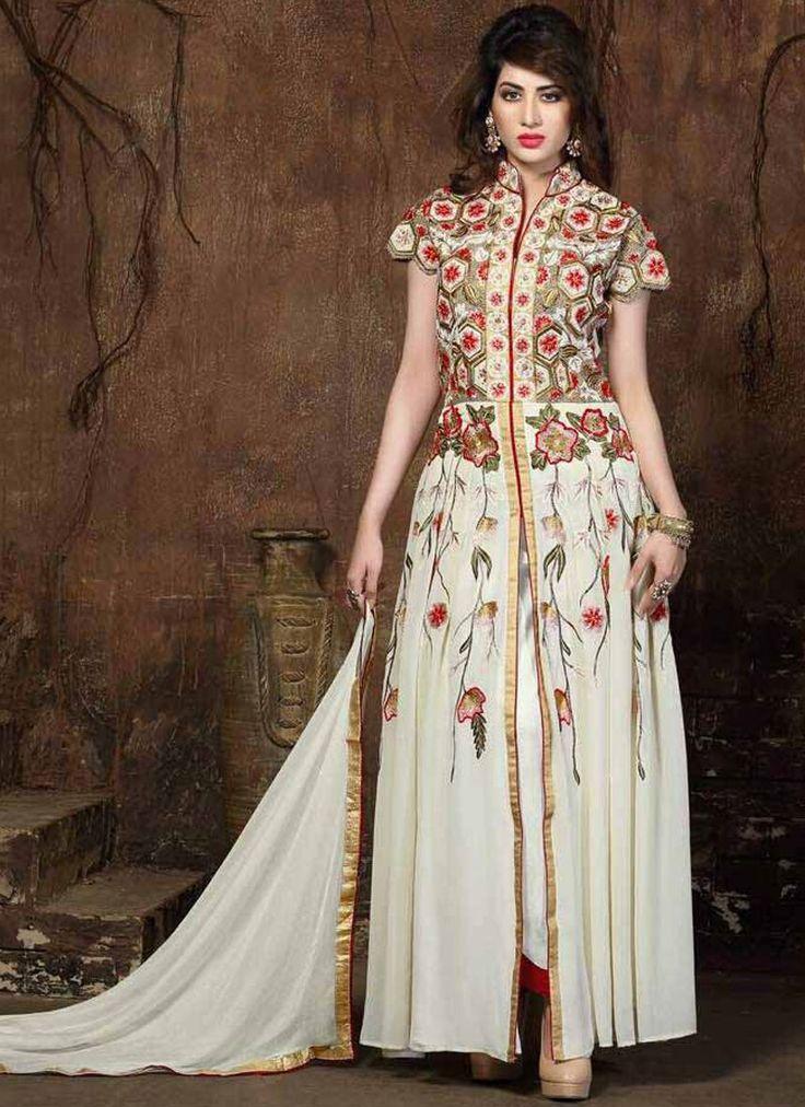 Desirable Cream Designer Salwar Suit
