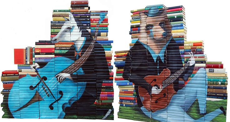 New Paintings on Salvaged Books by Mike Stilkey painting books #salvagedBooks #books #painting