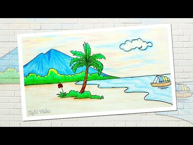 10 Gambar Pemandangan Yang Mudah Dan Simpel Cara Menggambar Pemandangan Pantai Pohon Gunung Laut Download 7 Lukisan Peman Di 2020 Gambar Pemandangan Cara Menggambar