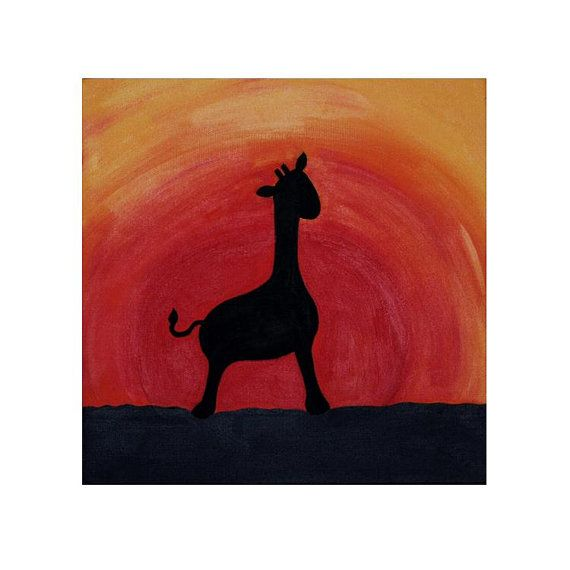 African Giraffe Silhouette Painting at Sunset by KatesBabyPaints, $75.00