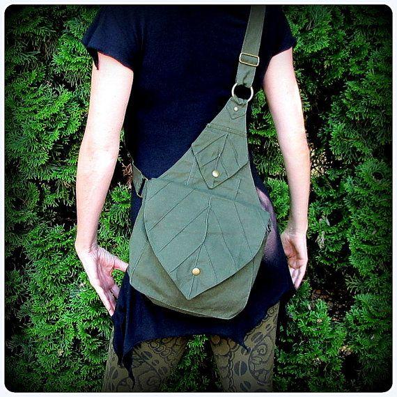 Leaf Bag Backpack Book Messenger Purse ~ Green Brown Black Canvas ~ Elven Forest Legolas LARP Legend of Zelda Link Elf Garb LOTR Yule