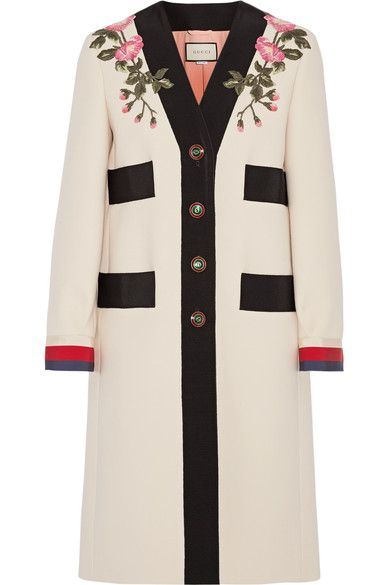 Ecru wool, multicolored grosgrain Button fastenings through front 100% wool; trim: 65% viscose, 35% cotton; trim: 50% cotton, 50% viscose; lining: 71% acetate, 29% silk Dry clean Made in Italy