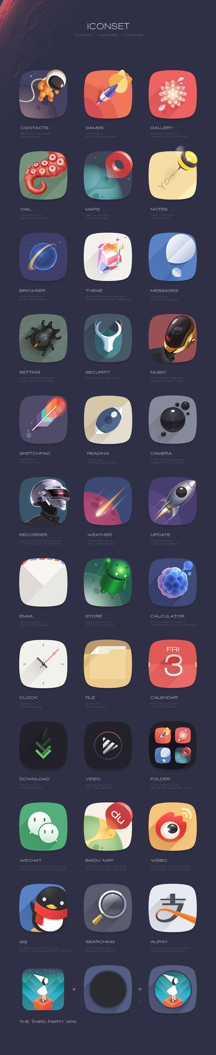 "With so many instances of strong movement and visually striking colors, it might be easy to overlook some of the more ""uninspired-looking"" app icons- such as the ringed planet. the subject of your app should contrast or at the very least be distinct-enough to be easily read from a distance."