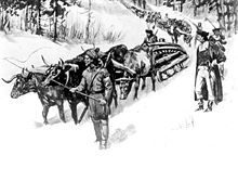 "Siege of Boston - Henry Knox bringing his ""noble train"" of artillery to Cambridge."