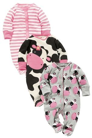 Buy Cow Character Sleepsuits Three Pack (0mths-2yrs) from the Next UK online shop