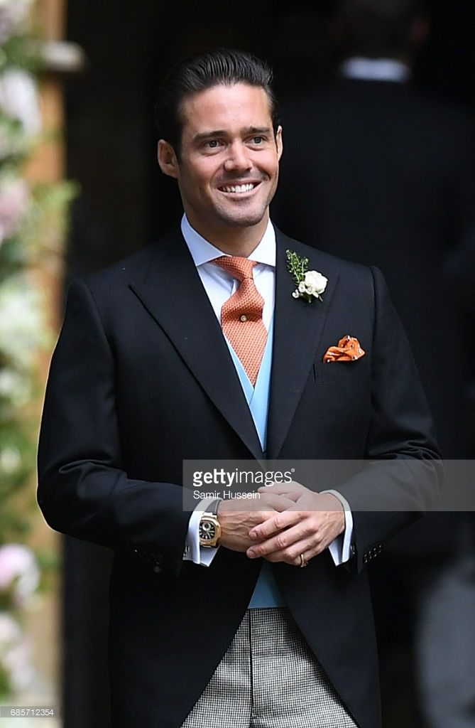 Spencer Matthews (C) brother of James Matthews attends the wedding of Pippa Middleton and James Matthews at St Mark's Church on May 20, 2017 in Englefield Green, England.