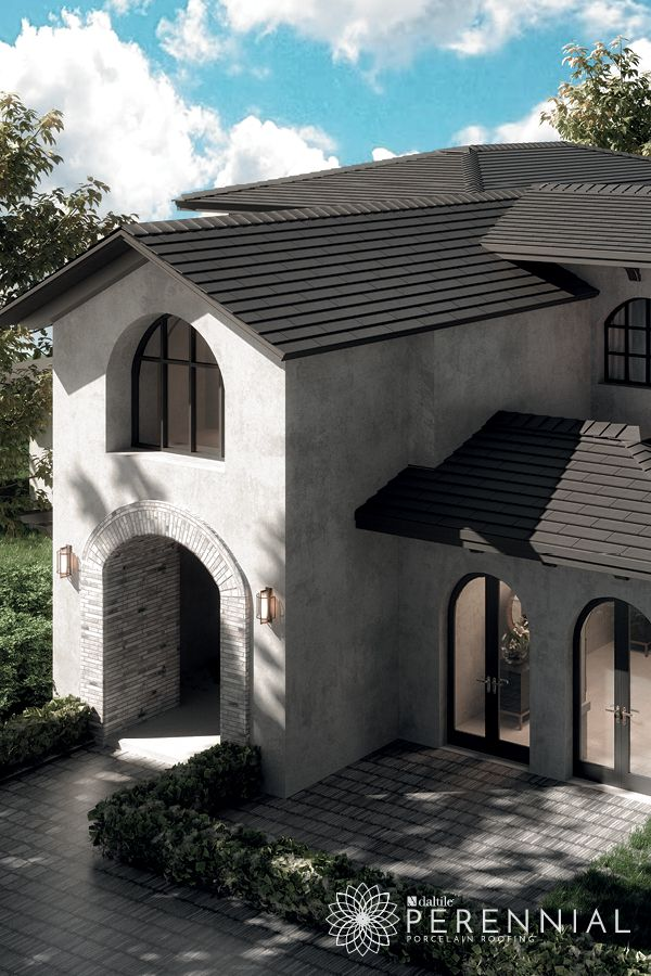 Perennial Porcelain Roofing Tile By Daltile Opulent Slate Collection Shown Here In Onyx Slate Architectural Features Daltile Timber Roof