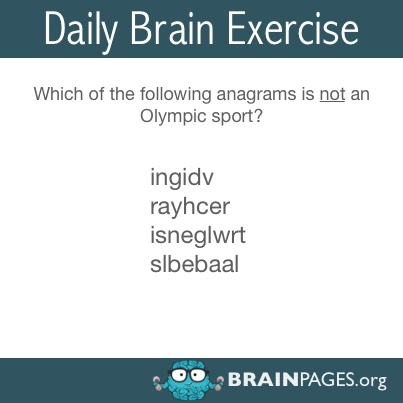 #word-jumble, Which of the following anagrams is not an Olympic sport?