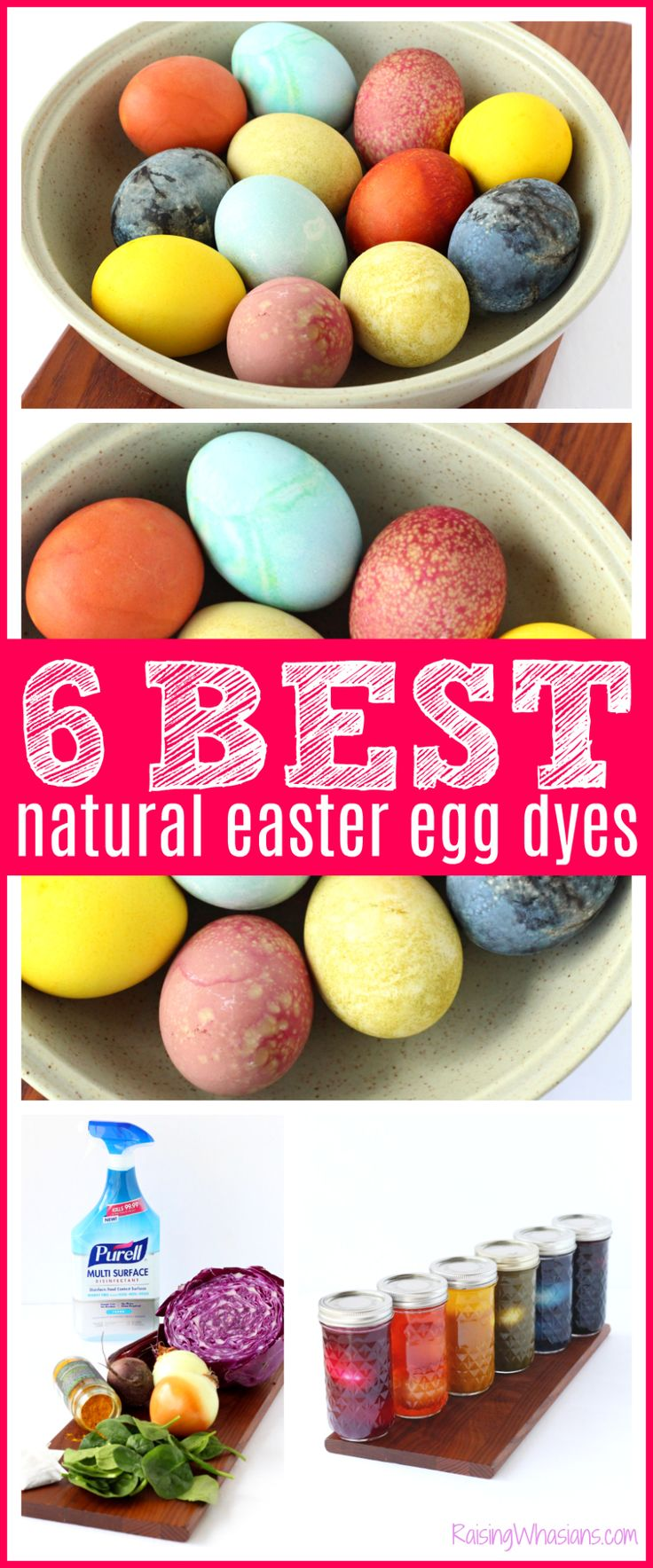 6 EASY Natural Easter Egg Dyes for the Most Vibrant Colors | Best at home dyes for your Easter eggs using everyday home items - Raising Whasians via @raisingwhasians