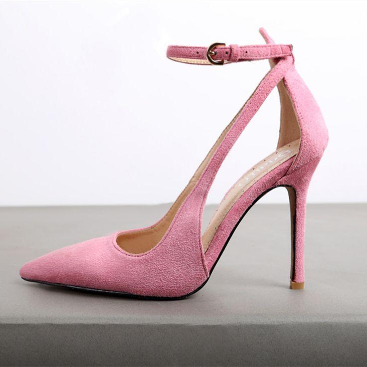 <b>New Fashion</b> Womans Leather Sexy <b>Pointy Toe</b> Buckle Strap Thin ...