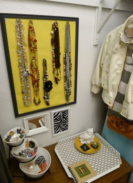 Pin board to hold necklaces, 3-tiered snack bowls for jewelry, tray and plate for miscellaneous items.
