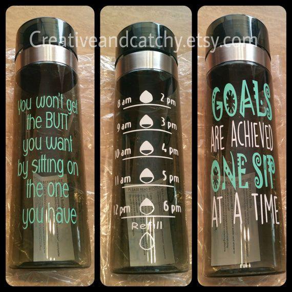 Custom water bottle motivational water bottle by CreativeandCatchy
