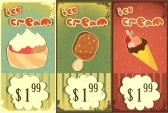 Ice cream labels in grunge style with price - hand drawn text Ice Cream  stock photography
