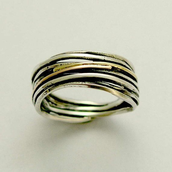 Oxidized ring, Sterling silver band, wrapped silver band, rose gold and yellow gold band, two toned band, unisex band - Live the dream.