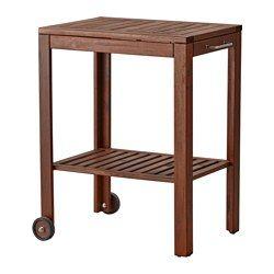 IKEA - ÄPPLARÖ / KLASEN, Serveerwagen, buiten, bruin gelazuurd, , Met de ÄPPLARÖ/KLASEN serveerwagen krijg je extra afzetruimte die eenvoudig verplaatsbaar is.Past ook perfect naast de ÄPPLARÖ/KLASEN barbecue als afzetruimte voor serveerschalen en barbecuetoebehoren.Voor extra slijtvastheid, en om de natuurlijke uitstraling van het hout te kunnen zien, is het meubel voorbehandeld met een laag halftransparante houtlazuur.