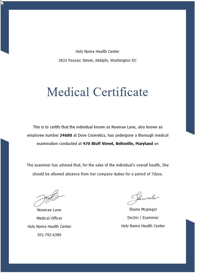 medical certificate sample lemme get back to work can usee me or webcam needed