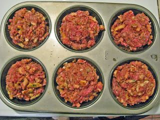 mini meatloaves: 2lbs ground beef, 1 bag/box chicken stuffing, and 1 egg. Bake in oven at 350 degrees for 20-30 minutes.