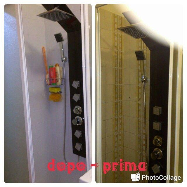 Prima e dopo bagno box doccia pittura vernice piastrelle grigio