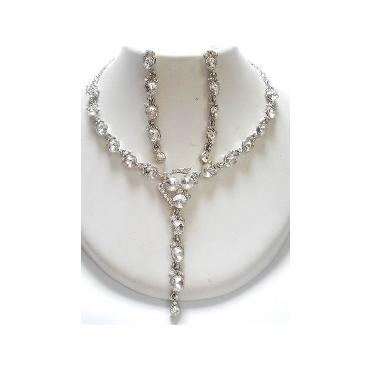 a Silver Plated American Diamond Necklace Set with a matching set of Earring could be a perfect gift for someone special. Available at skyfashionshop.com