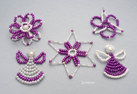 The fancy decorative set of 5 ornaments by EvAtelier1 https://www.etsy.com/shop/EvAtelier1?ref=hdr_shop_menu