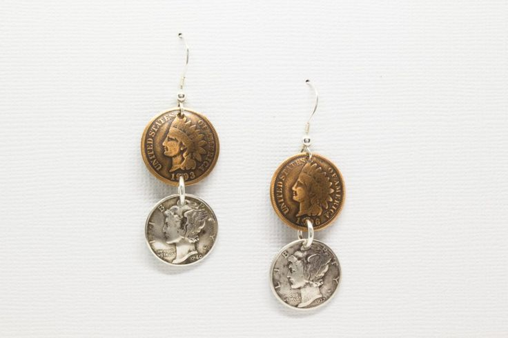 Earrings Handmade from Vintage Indian Head Penny and Silver Mercury Dime with Solid Sterling Silver Findings