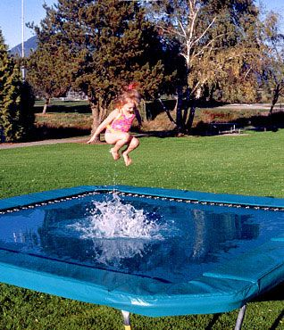 Now THAT looks like a lot of fun. Water on the trampoline. Who knew?