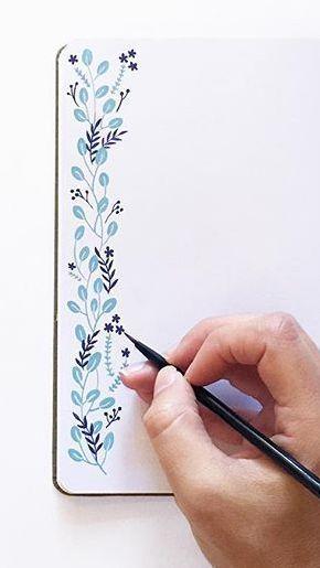hand drawn blue floral border _____________________________ #bulletjournaling #b…