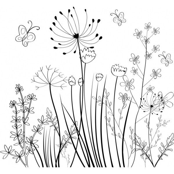 Wild Flowers Field Background Black White Sketch Free Vector In Adobe Liked On Polyvore Featuring Filler Sketch Free Flower Doodles Flower Drawing