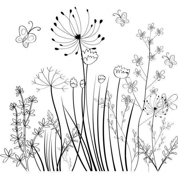 Wild Flowers Field Background Black White Sketch Free Vector In