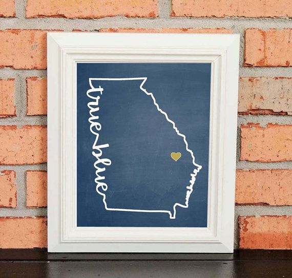 College Pride - Georgia Southern Artwork - True Blue - Georgia Southern University - Blue and Gold - Man Cave Artwork - College Decor