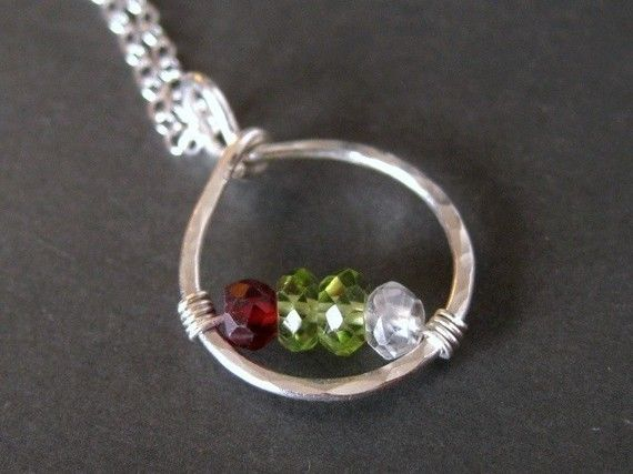 mothers necklace personalized birthstone CIRCLE OF by muyinmolly, $50.00